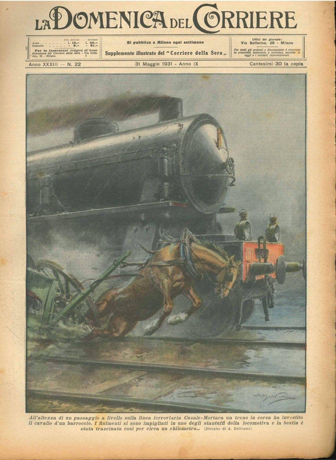 DOMENICA DEL CORRIERE N°  22 - 31 MAGGIO 1931 - ILL.  A. BELTRAME