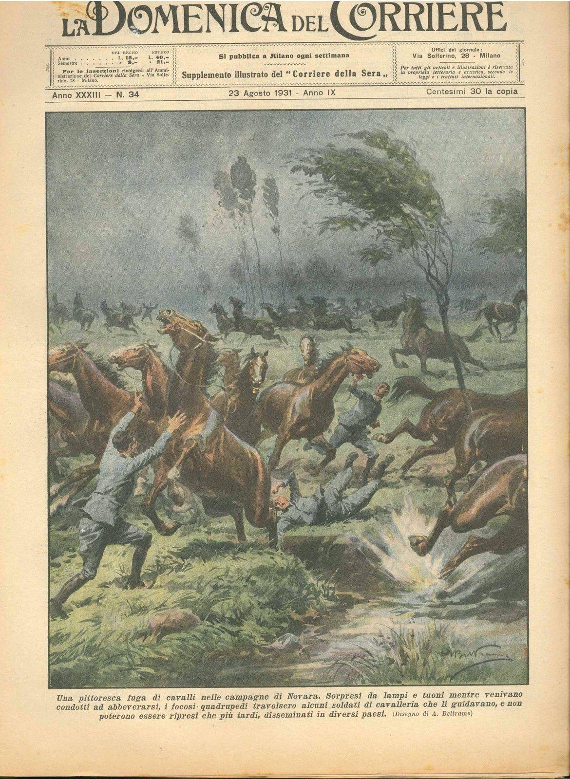 DOMENICA DEL CORRIERE N°  34 - 23 AGOSTO 1931 - ILL.  A. BELTRAME