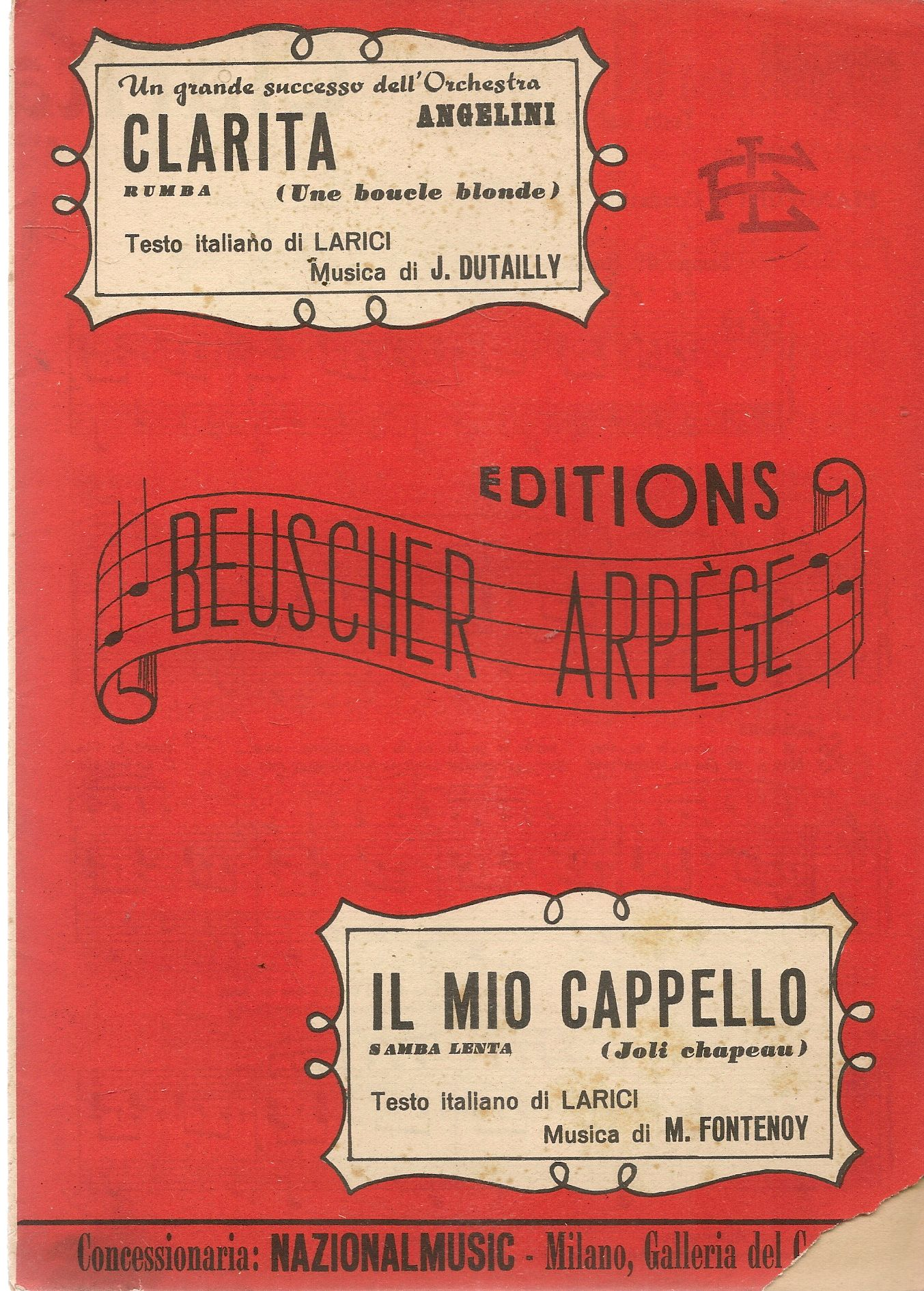CLARITA - IL MIO CAPPELLO  -  SPARTITO-SHEET MUSIC