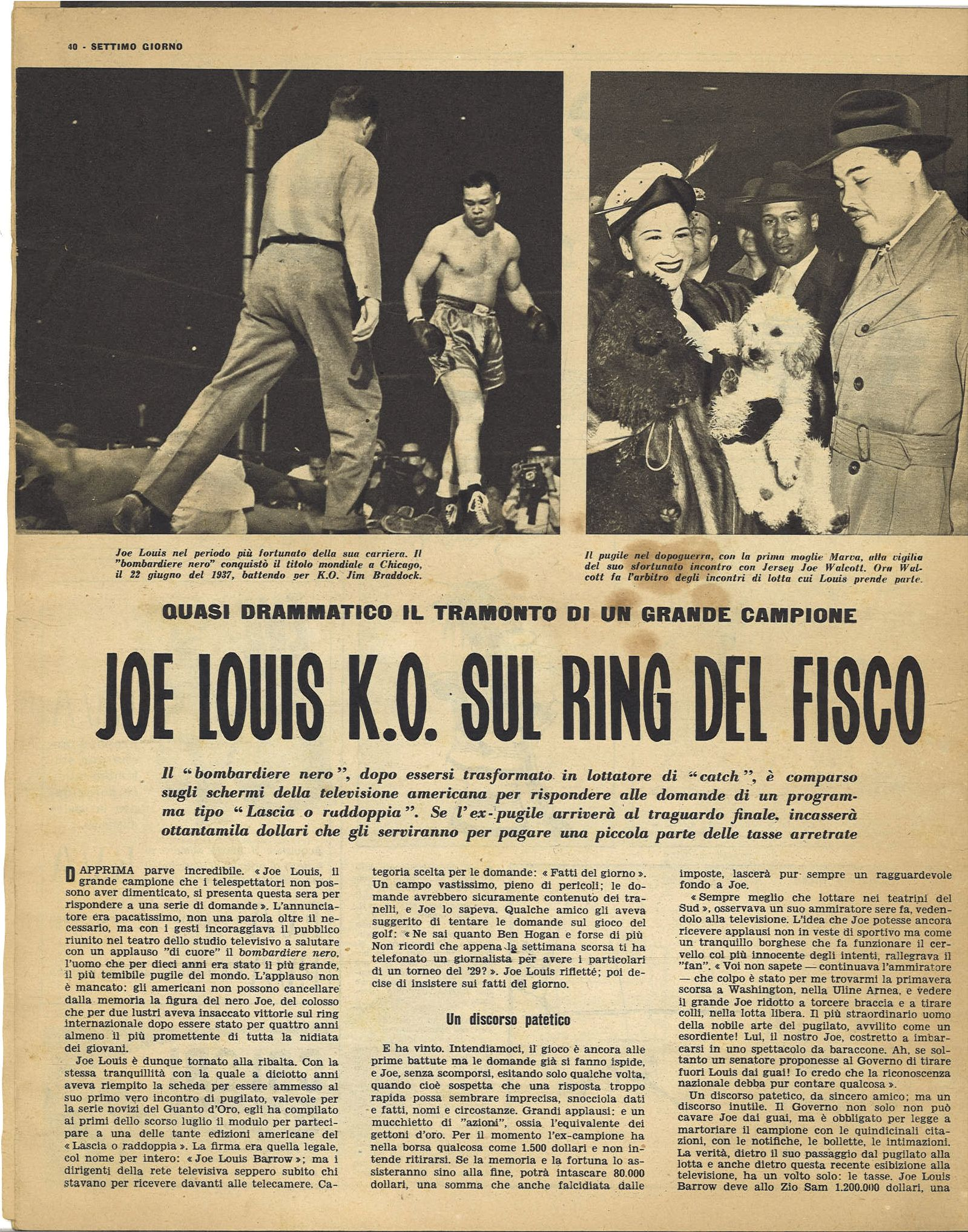 JOE LOUIS K.O. SUL RING DEL FISCO - CLIPPING-RITAGLIO DI GIORNALE