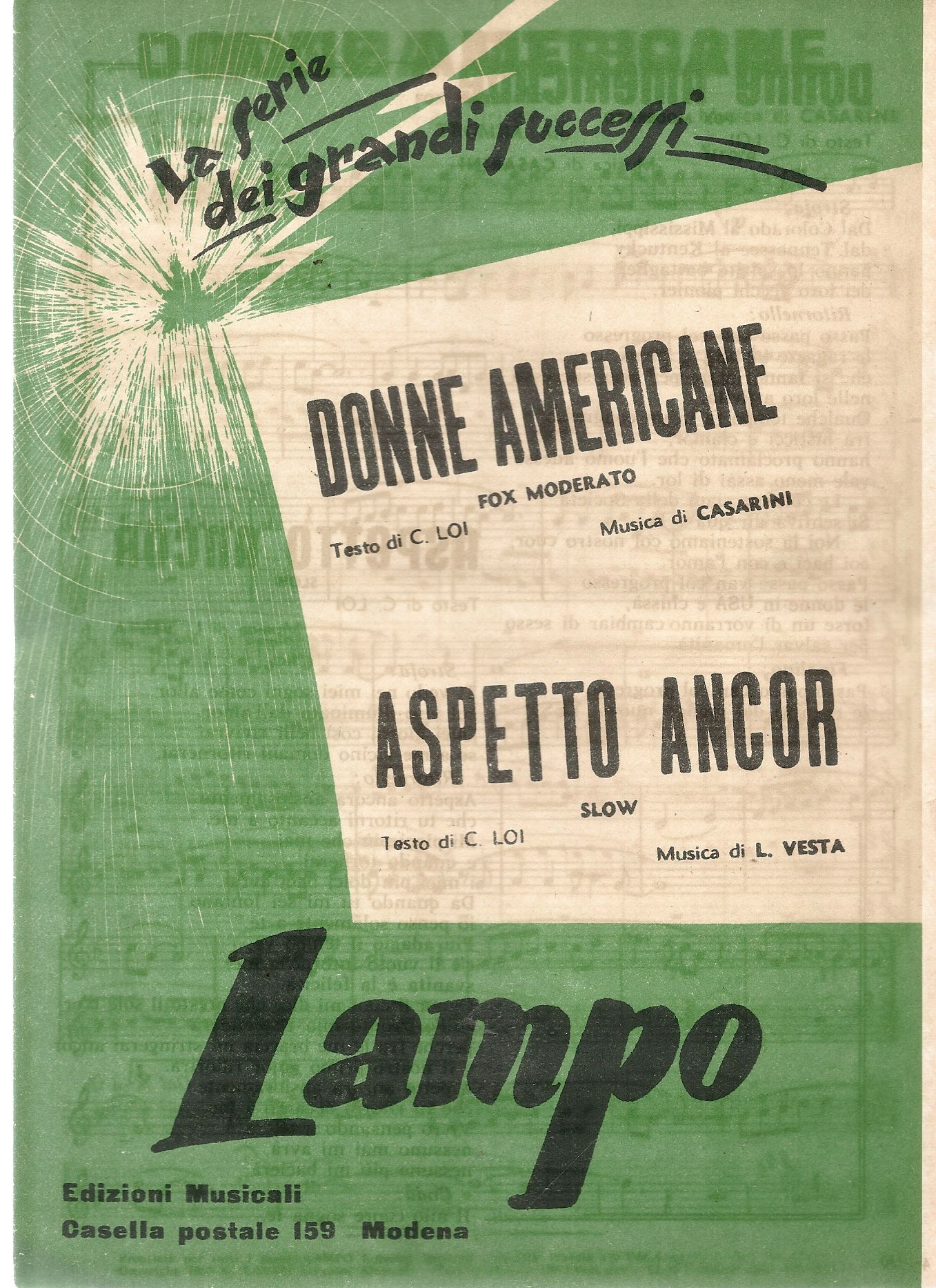DONNE AMERICANE - ASPETTO ANCOR - SPARTITO - SHEET MUSIC