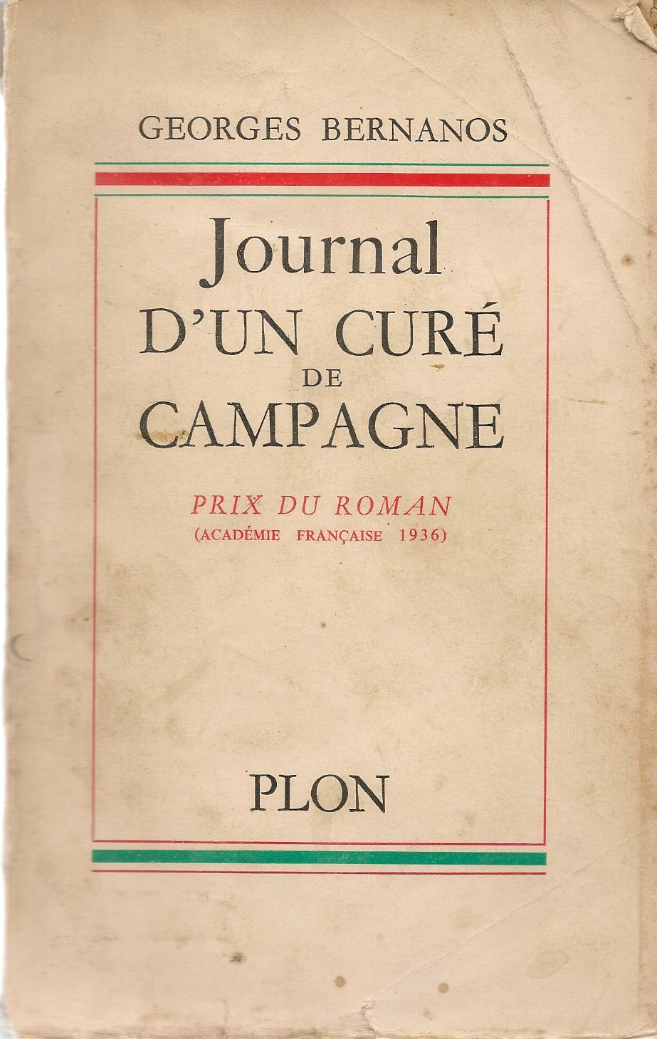 JOURNAL D'UN CURE DE CAMPAGNE - GEORGES BERNANOS - PLON 1958 - FRENCH TEXT