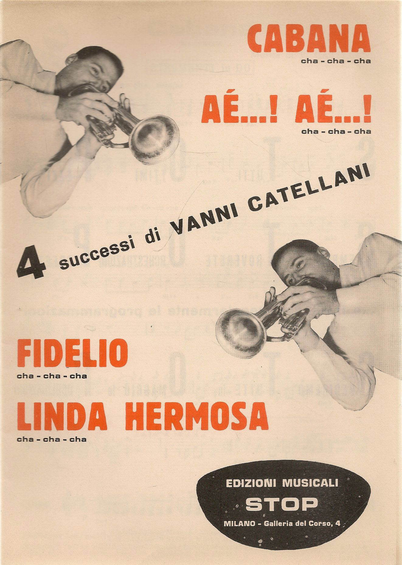 CABANA - AE'..AE'...- FIDELIO - LINDA HERMOSA -V. CATELLANI-SPARTITO-SHEEt MUSIC