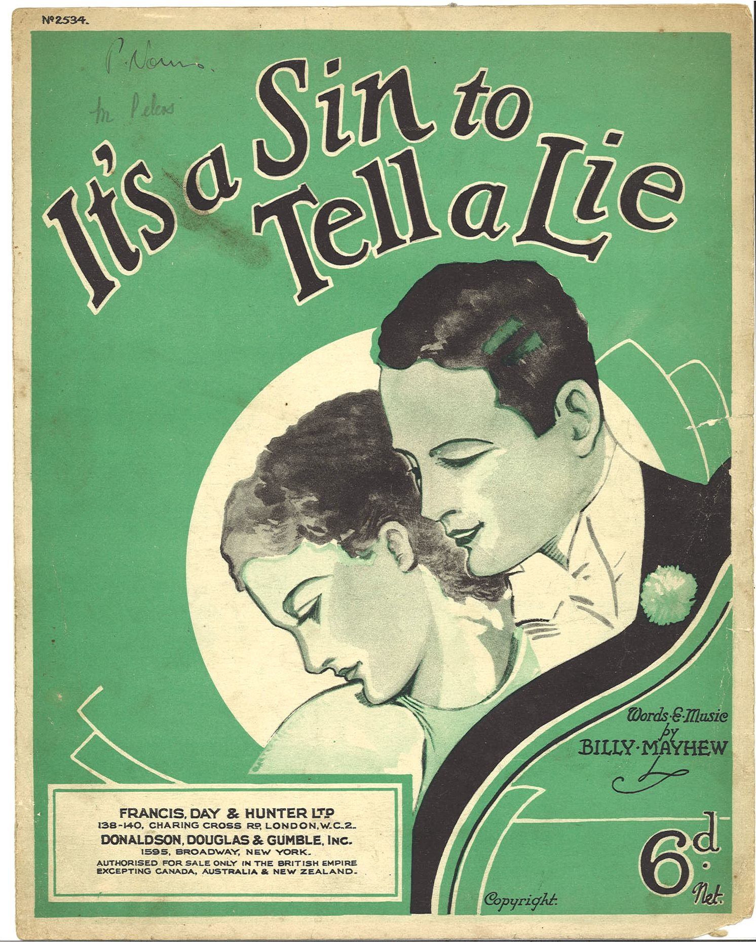IT'S A SIN TO TELL A LIE - BILLY MAYHEW - SPARTITO-SHEET MUSIC