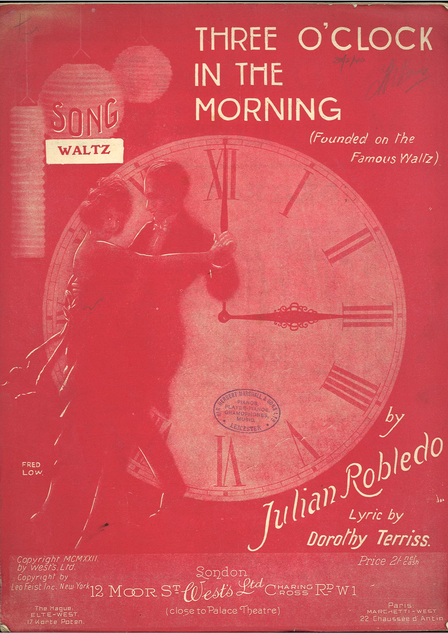THREE O'CLOCK IN THE MORNING - JULIAN ROBLEDO - SPARTITO-SHEET MUSIC