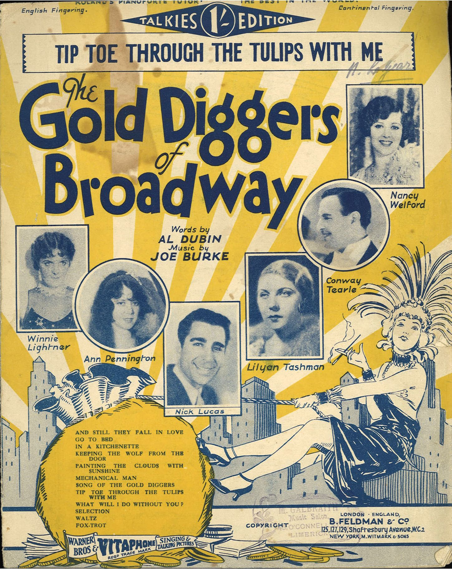 THE GOLD DIGGERS OF BROADWAY-TIP-TOE THRO' THETULIPS WITH ME - SHEET MUSIC