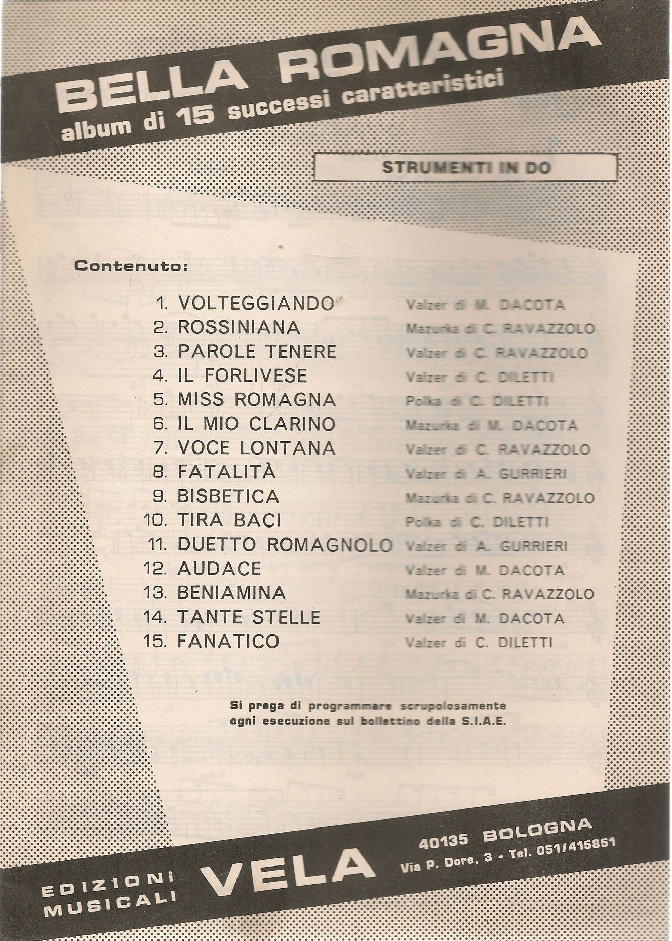BELLA ROMAGNA. 15 SUCCESSI - SPARTIO-SHEET MUSIC