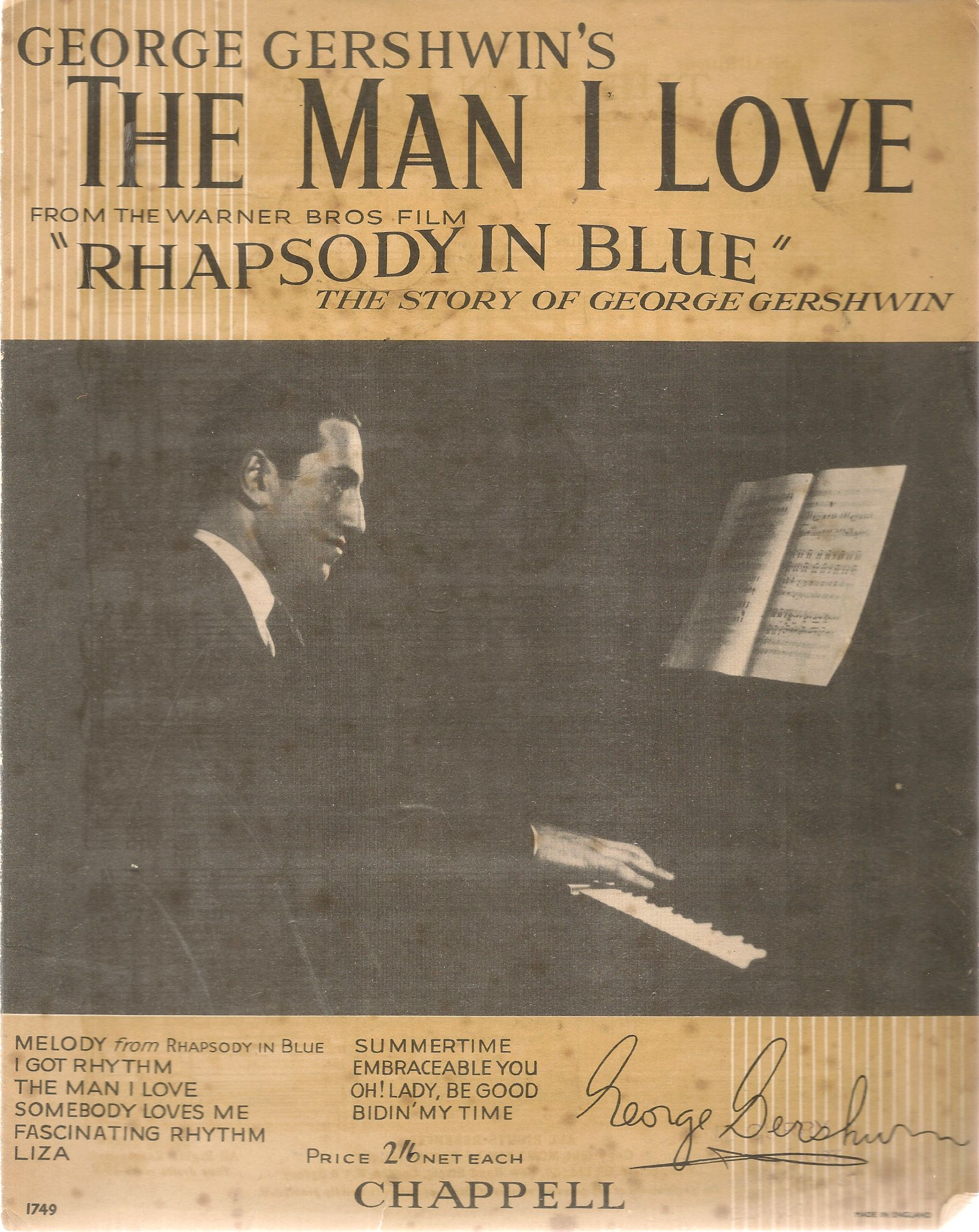 THE MAN I LOVE - GEORGE GERSHWIN - SPARTITO-SHEET MUSIC