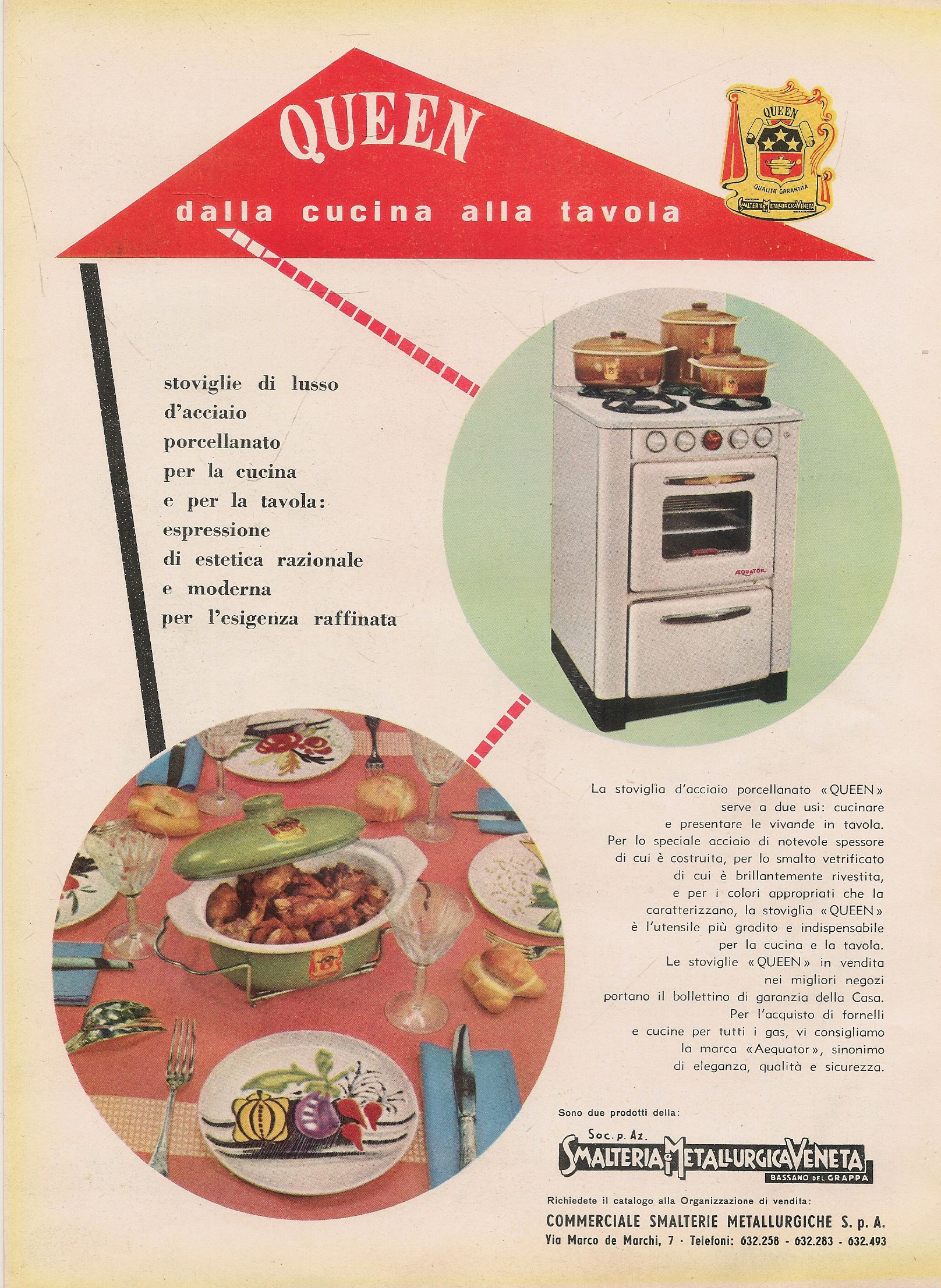 QUEEN. DALLA CUCINA ALLA TAVOLA - SMALTERIA METALLURGICA VENETA - ADVERTISING