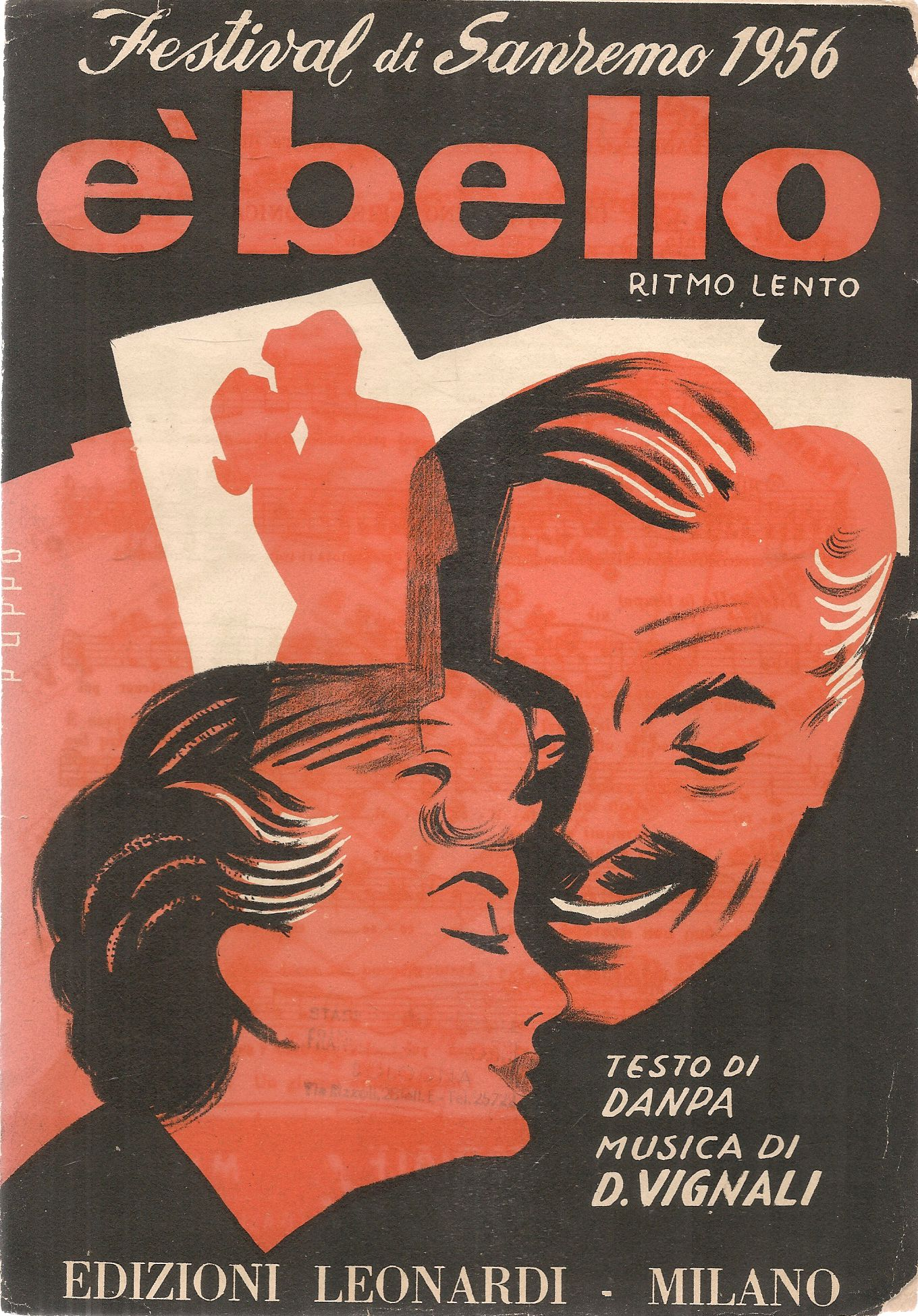 E' BELLO - SANREMO 1956 - SPARTITO-SHEET MUSIC