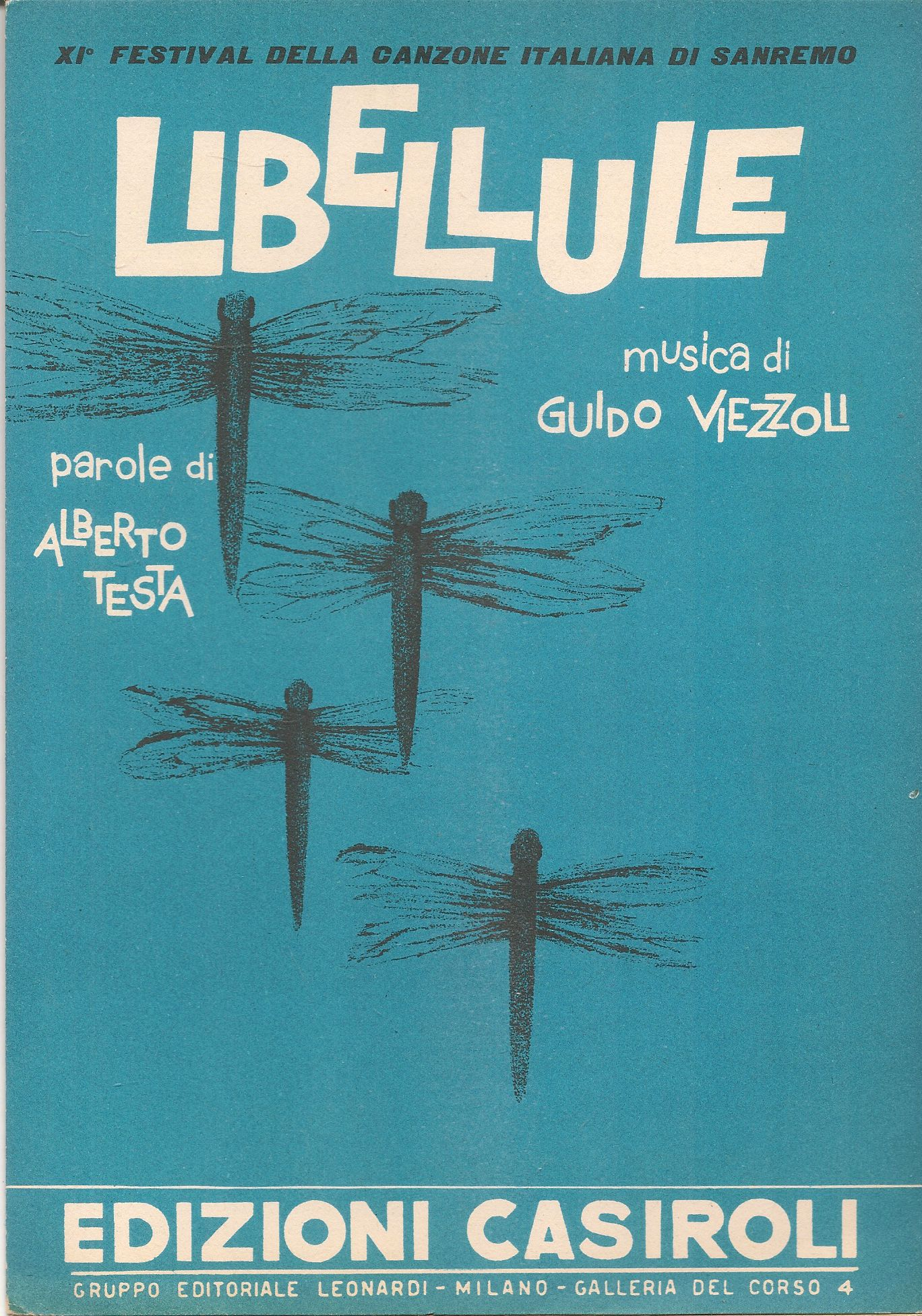 LIBELLULE - SANREMO 1961 - SPARTITO-SHEET MUSIC