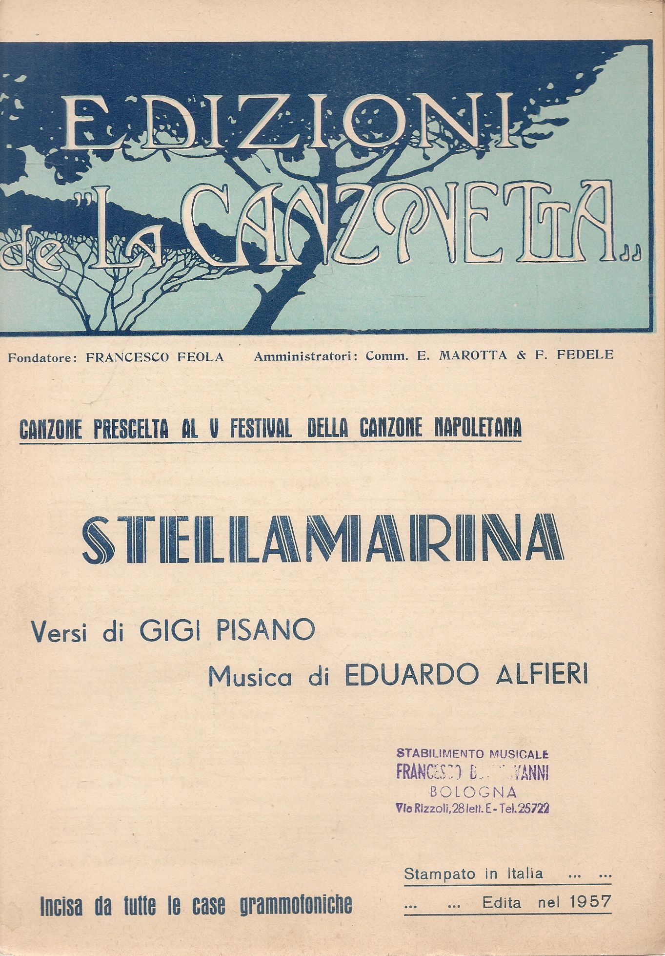 STELLAMARINA - SPARTITO-SHEET MUSIC