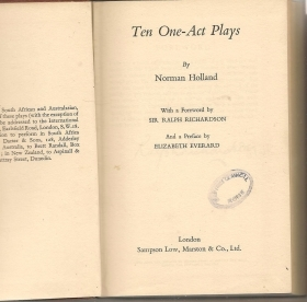 TEN ONE-ACT PLAYS - NORMAN HOLLAND   english text