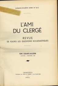 L'AMI DU CLERGE' - ANNATA 1962   FRENCH TEXT