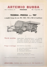 ARTEMIO BUBBA - TREBBIA PRESSA TIPO TRP - ADVERTISING