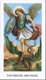 SAN MIGUEL ARCANGEL - SANTINO HOLY CARD - AS015-295 - spanish text