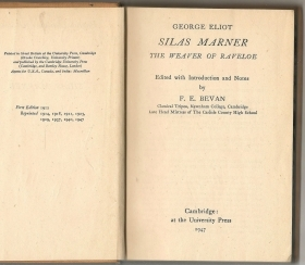 SILAS MARNER  THE WEAVER OF RAVELOE - GEORGE ELIOT  english text Cambridge Univ.