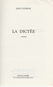 LA DICTEE - JEAN COSMOS (FRENCH TEXT)