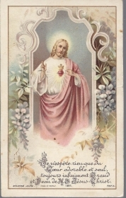 COEUR SACRE' DE JESUS - SANTINO HOLY CARD AS015-397  Ed. Buasse J. - french text